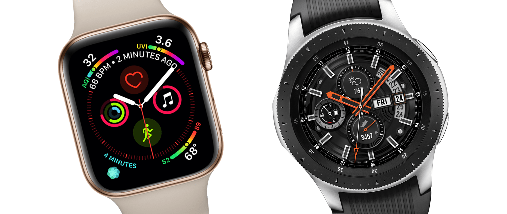 Samsung Galaxy Watch vs Apple Watch Series 4 Karşılaştırması Samsung Galaxy Watch & Apple Watch Series 4 Karşılaştırması